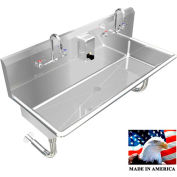"""Stainless Steel Sink, 2 Station w/Manual Faucets Round Tube Mounted 48"""" L X 20"""" W X 8"""" D"""