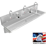 "Stainless Steel Sink, 3 Station w/Electronic Faucets, Wall Brackets 72""L X 20""W X 8""D"