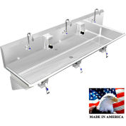 """BSM Inc. Stainless Steel Sink, 3 User w/Knee Valve Operated Faucets, Wall Brackets 60""""L X 20""""W X 8""""D"""