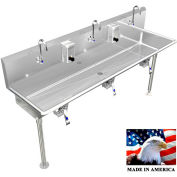 """BSM Inc. Stainless Steel Sink, 3 Station w/Knee Valve Operated, Straight Legs 72""""L X 20""""W X 8""""D"""