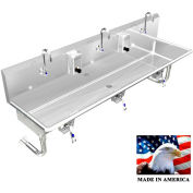 "Stainless Steel Sink, 3 Station w/Knee Valve Operated, Round Legs 72""L X 20""W X 8""D"
