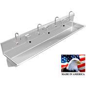 "BSM Inc. Stainless Steel Sink, 4 User w/Electronic Faucets, Wall Brackets 84"" L X 20"" W X 8"" D"