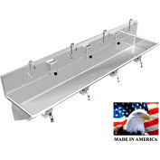 "Stainless Steel Sink, 4 User w/Knee Valve Operated Valves Wall Mounted 84"" L X 20"" W X 8"" D"