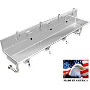"""Stainless Steel Sink, 4 User w/Knee Valve Operated Valves Round Tube Mounted 96"""" L X 20"""" W X 8"""" D"""