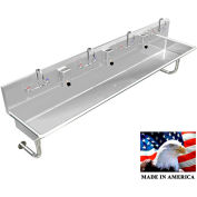 """Stainless Steel Sink, 4 User w/Manual Faucets, Round Tube Mounted 80"""" L X 20"""" W X 8"""" D"""