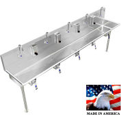"""Stainless Steel Sink, 5 Users w/Knee Operated Valves, Straight Legs 120"""" L X 20"""" W X 8"""" D"""