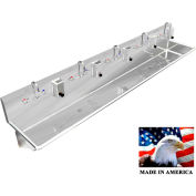 """Stainless Steel Sink, 5 Stations w/Manual Faucets 100"""" L X 20"""" W X 8"""" D"""