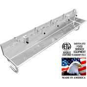 """BSM Inc. Stainless Steel Sink, 5 Stations w/Manual Faucets, Round Tube Mounted 100"""" L X 20"""" W X 8"""" D"""