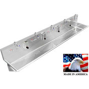 """Stainless Steel Sink, 5 Stations w/Manual Faucets 120"""" L X 20"""" W X 8"""" D"""