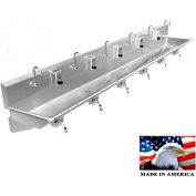 """Stainless Steel Sink, 6 Users w/Knee Operated Valves, Wall Mounted 132"""" L X 20"""" W X 8"""" D"""