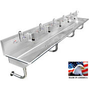 """Stainless Steel Sink, 6 Stations w/Manual Faucets, Round Tube Mounted 132"""" L X 20"""" W X 8"""" D"""