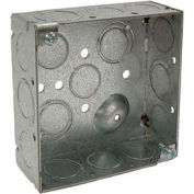 """Hubbell 189 Square Box 4"""", 1-1/2"""" Deep, 1/2"""" & 3/4"""" Side Knockouts, Welded - Pkg Qty 50"""