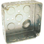"Hubbell 190 Square Box 4"", 1-1/2"" Deep, 1/2"" Side Knockouts, Drawn - Pkg Qty 50"