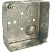 "Hubbell 191 Square Box 4"", 1-1/2"" Deep, 3/4"" Side Knockouts, Drawn - Pkg Qty 50"