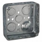 "Hubbell 192 Square Box 4"", 1-1/2"" Deep, 1/2"" & 3/4"" Side Knockouts, Drawn - Pkg Qty 50"