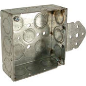 "Hubbell 193 Square Box 4"", 1-1/2"" Deep, 1/2""& 3/4"" Side Knockouts, Stud Bracket, Welded - Pkg Qty 25"