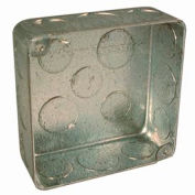 "Hubbell 226 Square Box 4"", 1-1/2"" Deep, 1/2"" & 3/4"" Side Knockouts, For Plenum Box, Drawn - Pkg Qty 50"