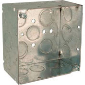 "Hubbell 232 Square Box 4"", 2-1/8"" Deep, 1/2"" & 3/4"" Side Knockouts, Welded - Pkg Qty 25"