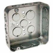 "Hubbell 247 Square Box 4-11/16"", 1-1/2"" Deep, 1/2"" & 3/4"" Side Knockouts, Drawn - Pkg Qty 25"