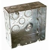 "Hubbell 257 Square Box 4-11/16"", 2-1/8"" Deep, 1/2"" & 3/4"" Side Knockouts, Welded - Pkg Qty 25"
