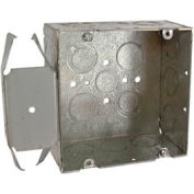 "Hubbell 266 Square Box 4-11/16"", 2-1/8"" Deep, 1/2"" & 3/4"" Side Knockouts, Stud Bracket - Pkg Qty 25"