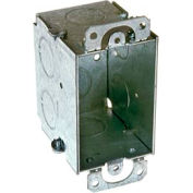 "Hubbell 500 Switch Box 3""X2, 2-1/2"" Deep, Gangable, 1/2"" End Knockouts, W/Plaster Ears - Pkg Qty 50"