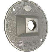 "Hubbell 5193-0 Weatherproof Cover 4"" Round Cluster, 1 Hole, Gray - Pkg Qty 20"