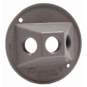 "Hubbell 5197-0 Weatherproof Cover 4"" Round Cluster, Three Hole, Gray - Pkg Qty 20"