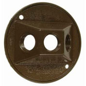 "Hubbell 5197-2 Weatherproof Cover 4"" Round Cluster, Three Hole, Bronze - Pkg Qty 20"