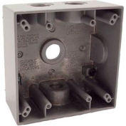 """Hubbell 5335-0 Two Gang Weatherproof Box 4-1/2"""" Outlets Gray - Pkg Qty 12"""