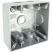 """Hubbell 5337-1 Two Gang Weatherproof Box - 5-1/2"""" Outlets White - Pkg Qty 12"""