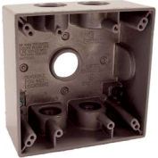 "Hubbell 5345-0 Two Gang Weatherproof Box 5-3/4"" Outlets, 31 Cubic In., Gray - Pkg Qty 12"
