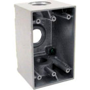 "Hubbell 5386-0 Single Gang Deep Weatherproof Box 3-3/4"" Outlets Gray - Pkg Qty 15"