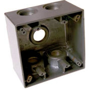 """Hubbell 5389-0 Two Gang Deep Weatherproof Box 5-1"""" Outlets Gray - Pkg Qty 9"""