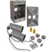 Hubbell 5818-5 Rectangular Box & Lamp Kit Gray - Pkg Qty 4