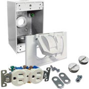 Hubbell-Bell 5839-6WRTR Weatherproof Box, Cover And WR/TR Duplex Receptacle, White - Pkg Qty 4