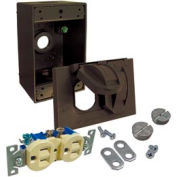 Hubbell 5839-7 Weatherproof Box, Cover And Duplex Receptacle Bronze - Pkg Qty 4
