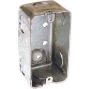 """Hubbell 663 Handy Box 4""""X2"""", 1-7/8"""" Deep, 3/4"""" End Knockouts, Drawn - Pkg Qty 50"""