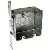 "Hubbell 685 Square 4"", 2-Device, 2-1/8""D, 1/2""&3/4"" Side Knockouts, Stud Bracket, Drawn - Pkg Qty 25"