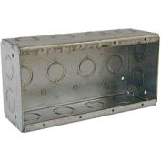 "Hubbell 693 Masonry Box, 4 Device, Non-Gangable, 2-1/2"" Deep, 1/2"" & 3/4"" End Knockouts - Pkg Qty 10"