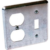 Hubbell 872 2 Device Switch Box Cover, 1 Toggle, 1 Duplex - Pkg Qty 25