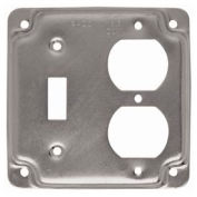 "Hubbell 906c 4"" Square Exposed Work Cover, 1 Duplex Receptacle & Toggle Switch - Pkg Qty 10"