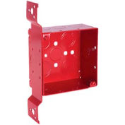 "Hubbell 911-4 Square Box 4"", 2-1/8"" Deep, Painted Red, 1/2"" & 3/4"" Knockout, Stud Bracket - Pkg Qty 25"