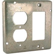 "Hubbell 915 4"" Square Exposed Work Cover, 1 Gfci & 1 Duplex Receptacle - Pkg Qty 10"