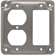 """Hubbell 915c 4"""" Square Exposed Work Cover, 1 Gfci & 1 Duplex Receptacle - Pkg Qty 10"""