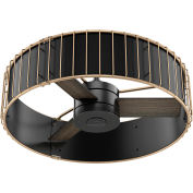"Hunter Fan 30"" Vault Ceiling Fan with Handheld Remote 59254 - Matte Black and Modern Brass"