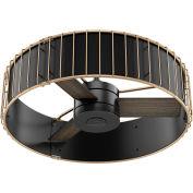 "Hunter Fan 30"" Vault Ceiling Fan with Handheld Remote 59254 - Matte Black and Modern Brass"