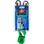 Highland® 1163900 Bungee Cord, Green, Pack of 2, Clamshell Package