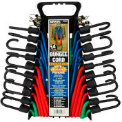 Highland® 9008800 Bungee Cord Assortments, Assorted, Pack of 14, Storage Rack Package