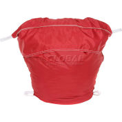"18"" Ropeless Hamper Bag, Nylon, Red, Round Bottom - Pkg Qty 12"